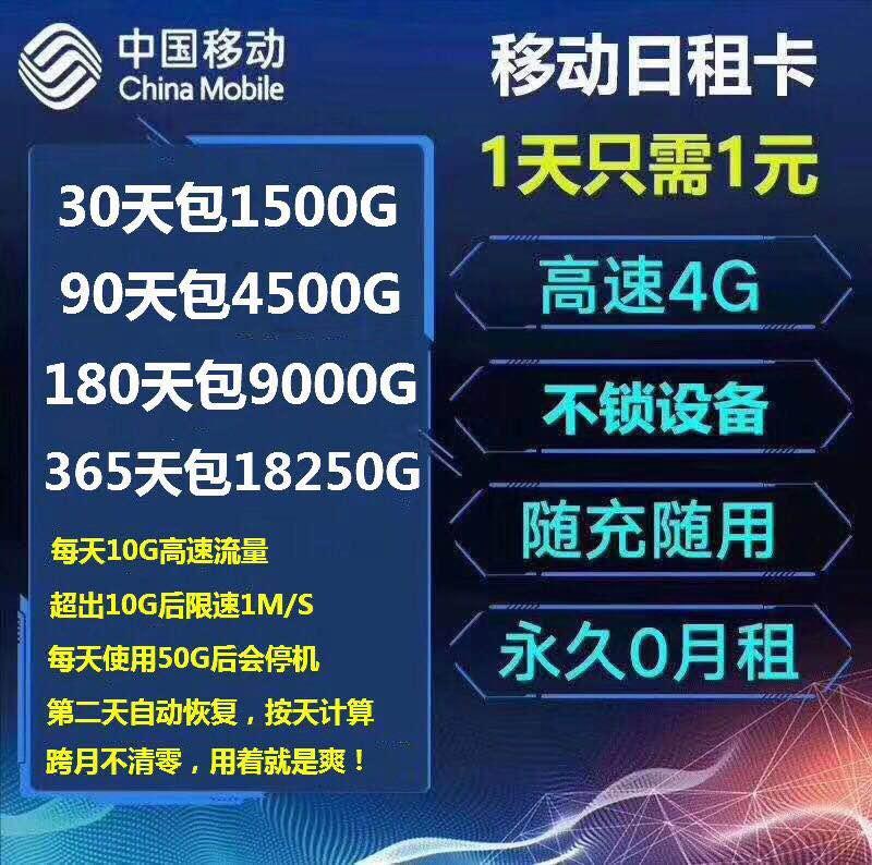 移动天蓬日租卡流量卡 1元包15G 一个月1500G